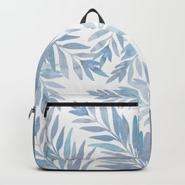 Muted Blue Palm Leaves Backpack