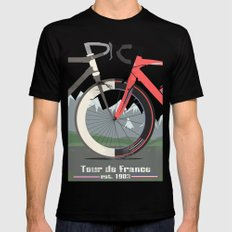 Tour De France Bicycle Black Mens Fitted Tee LARGE