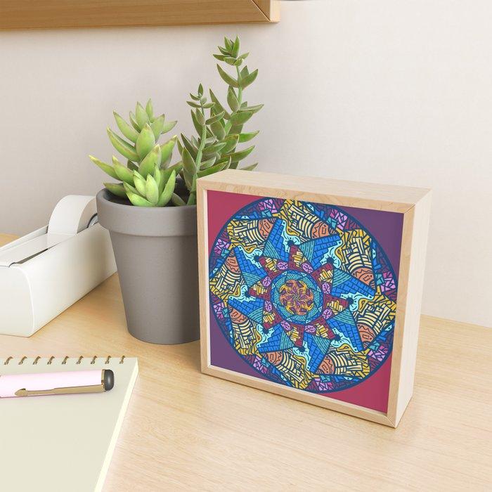 Mountain abstract mandala Framed Mini Art Print