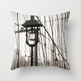 New York City's Brooklyn Bridge - Black and White Photography Throw Pillow
