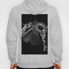 Geometric Black and White Drawing Kitting Hands Hoody