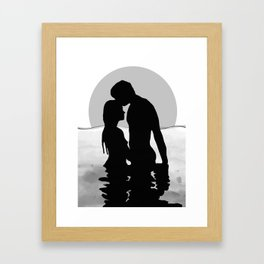 Lovers Black and White Framed Art Print