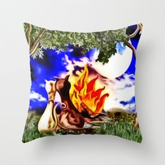 Romanze am Lagerfeuer Throw Pillow