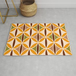 Retro 70s yellow brown ovals grid Rug
