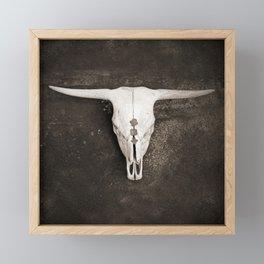 Sepia Brown Cow Skull Framed Mini Art Print