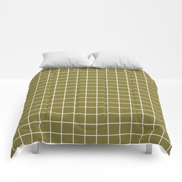 Spanish bistre - green color - White Lines Grid Pattern Comforters