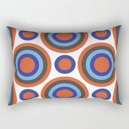 Circle Circle:  Orange, Blue, Turquoise + Brown Rectangular Pillow