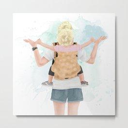 Babywearing Mama // crunchy mom wearing toddler as backpack watercolor illustration Metal Print