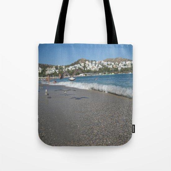 Seagull Beach Greece Tote Bag