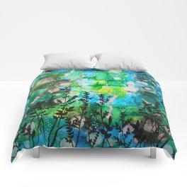 The Cheri - Beautiful Blues, Greens and Botanicals Comforters