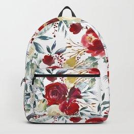 Elegant burgundy pink teal gray watercolor holly leaves floral Backpack
