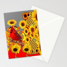 MODERN ABSTRACT RED CARDINAL YELLOW SUNFLOWERS GREY ART Stationery Cards