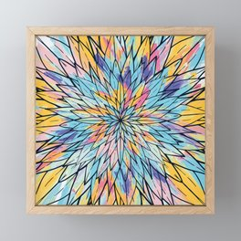Summery Yellow Pink Floral Painted Line Art Framed Mini Art Print