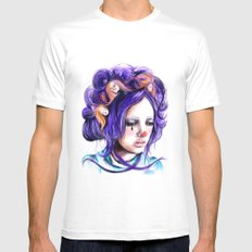 Dolls in her hair, Forest of Dolls Collection MEDIUM White Mens Fitted Tee