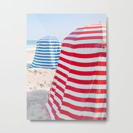 Striped Beach Cabanas – French Riviera, Travel Photography Metal Print