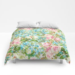 Vintage & Shabby Chic - Roses and Forgetmenot Flowers Comforters