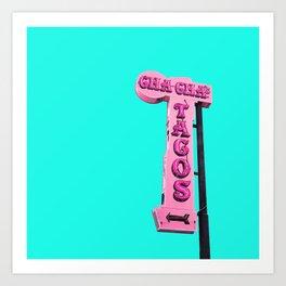 Cha-Cha's Tacos Retro Vintage Pink Sign Art Print
