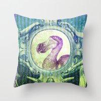 bill Throw Pillows featuring Dodo Bill by Connie Goldman