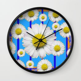Modern Art Blue Shasta Flowers Pattern Wall Clock