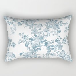 Vintage blue white bohemian elegant floral Rectangular Pillow