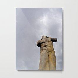 Man body sculpture and cloudy sky Metal Print