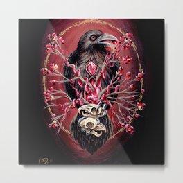 Black Raven Bird with Mice Skulls and Fruit Metal Print