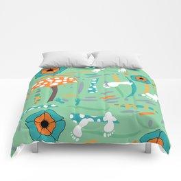 Playful mushroom and flowers Comforters