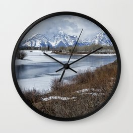 Grand Tetons from Oxbow Bend Wall Clock