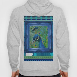 Peacock in Frame with Stripes pattern Hoody