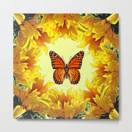 Monarch Butterfly Creany Yellow Sunflower Circle Metal Print
