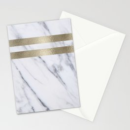 Smokey marble and gilded striped accents Stationery Cards