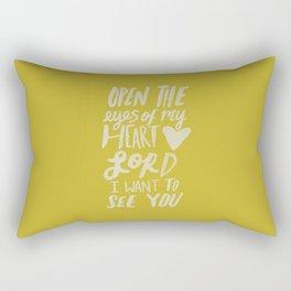 Open the Eyes of My Heart Lord x Mustard Rectangular Pillow
