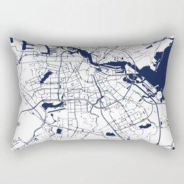 Amsterdam White on Navy Street Map Rectangular Pillow