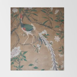Antique French Chinoiserie in Tan & White Throw Blanket