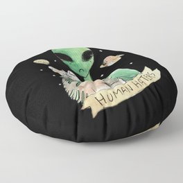 aliens and cats are human haters Floor Pillow
