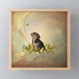 Cute little yorkshire terrier with butterflies Framed Mini Art Print