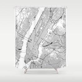 New York City White Map Shower Curtain