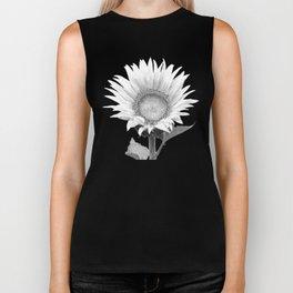 White Sunflower Black Background Biker Tank