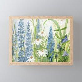 Watercolor Botanical Garden Flower Wildflower Blue Flower Garden Framed Mini Art Print