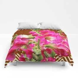 Coffee Brown Fuchsia Pink Holly Hocks Pattern Flora Art Comforters