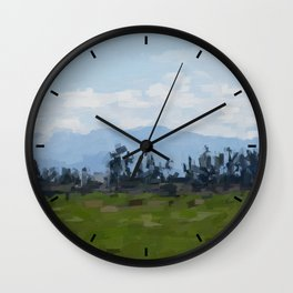 Low clouds on hills. Wall Clock