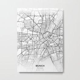 Munich germany city map white Metal Print