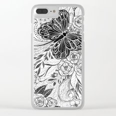 Butterfly and flowers Clear iPhone Case