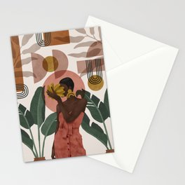 Woman with succulent bananas Stationery Cards