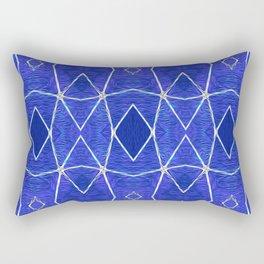 Deepest Blue Retro Tribal Geometric Rectangular Pillow