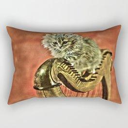 Music was my first love - a cat and harp Rectangular Pillow