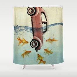 Bug and goldfish Shower Curtain