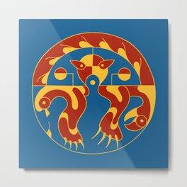 Native American Cat bird snake bright colors Metal Print