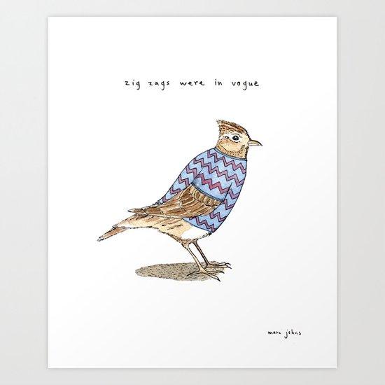 Zig zags were in vogue Art Print