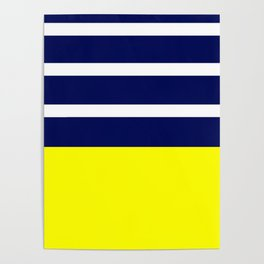 Summer Patio Perfect, Yellow, White & Navy Poster